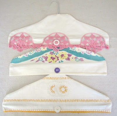 create hanger covers from vintage linens