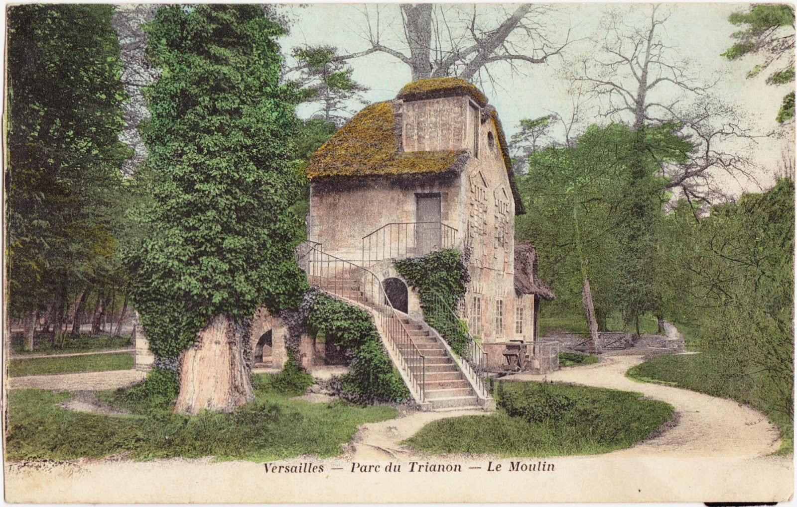 papergreat old postcard the mill at marie antoinette s hamlet. Black Bedroom Furniture Sets. Home Design Ideas