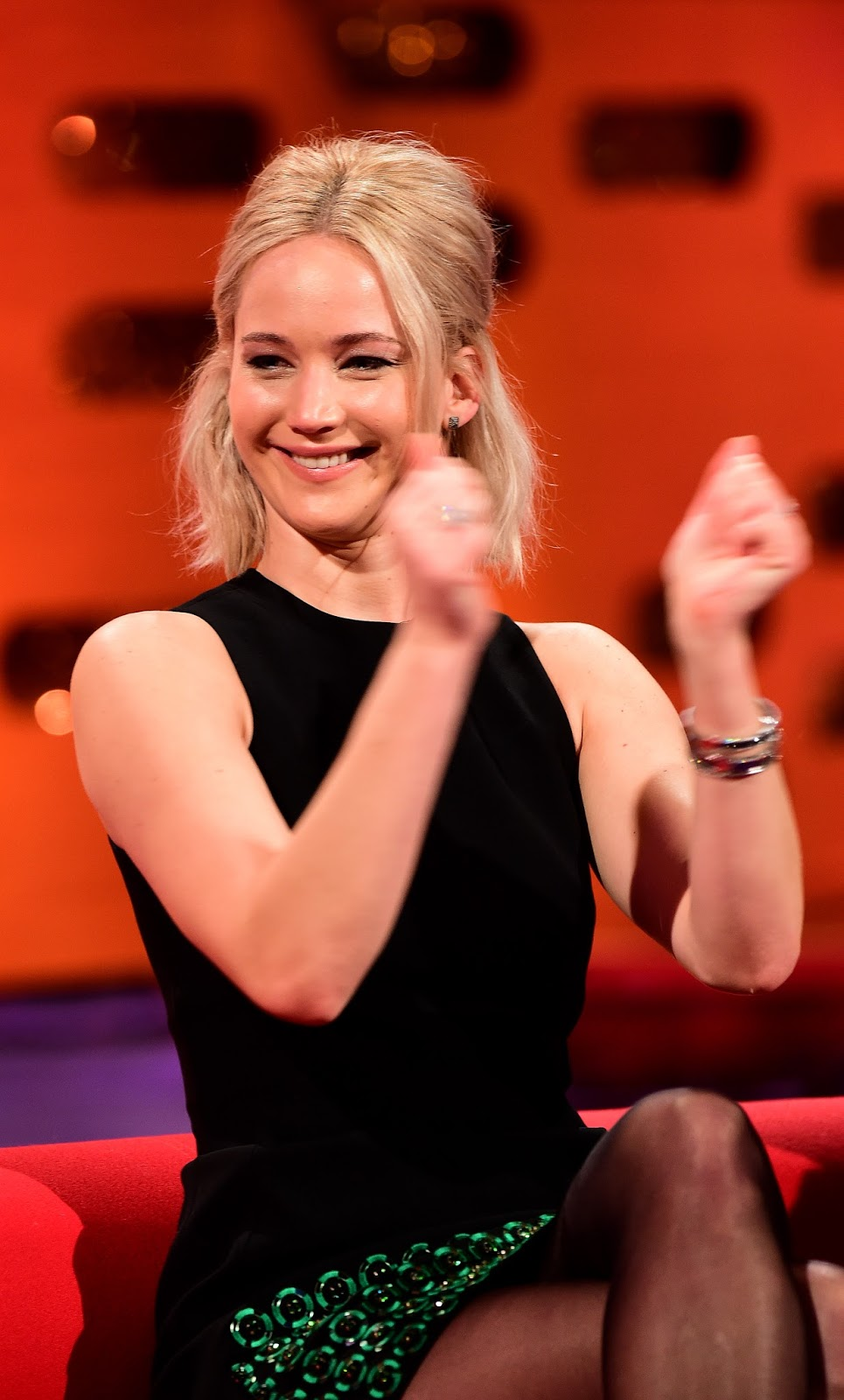 Jennifer Lawrence going glossy on The Graham Norton Show ...