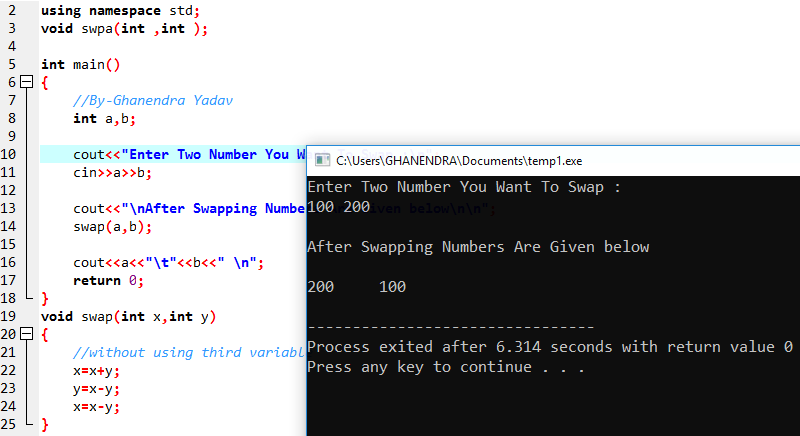 C++ Program To Swap Two Numbers Without Using Third Variable