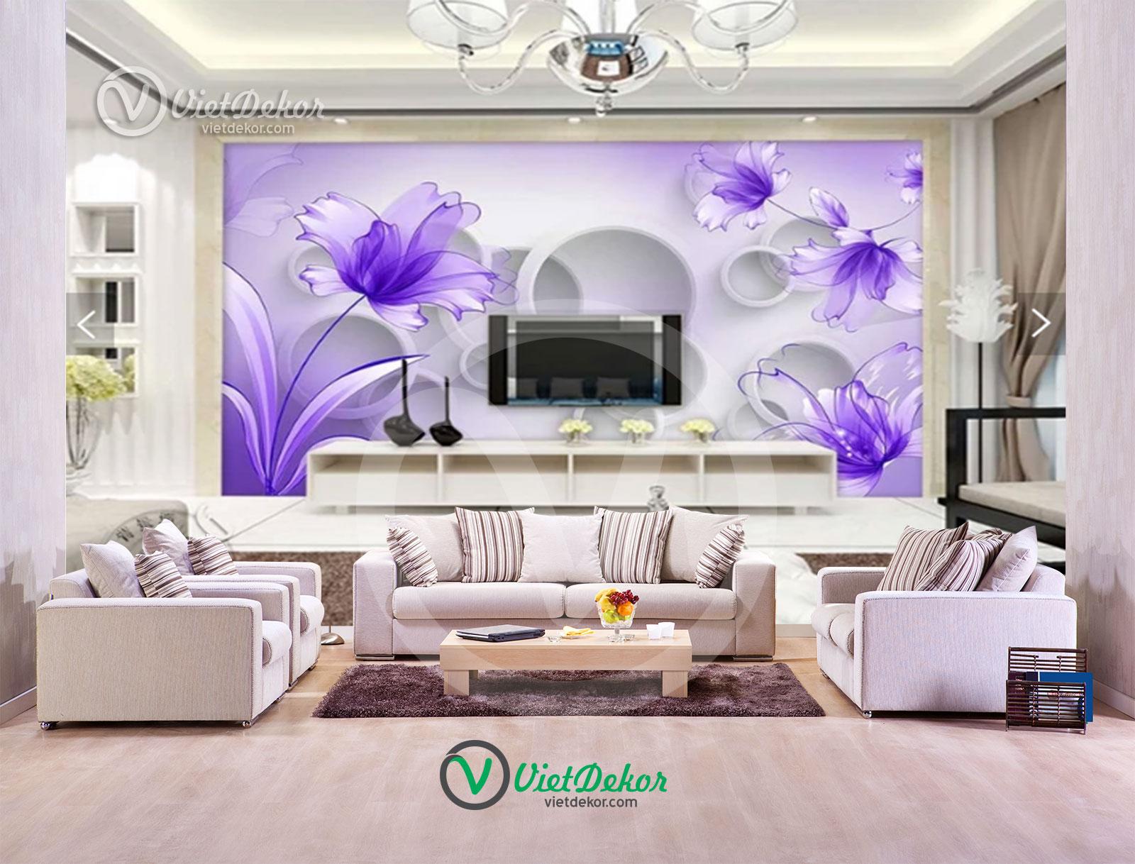 Tranh dán tường hoa 3d phòng khách phòng ngủ đẹp