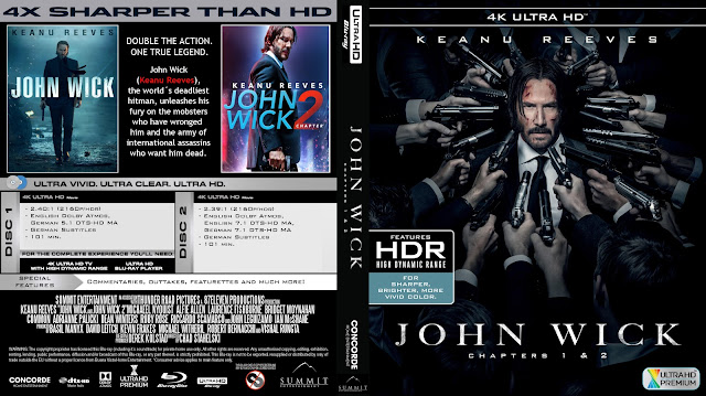 John Wick Chapter 1 And 2 4k Bluray Cover