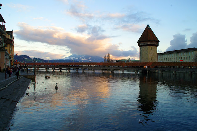 Lucerne Sunset Chapel Bridge Lake