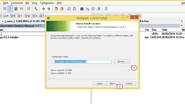 تعيين مسار تثبيت البرنامج محرر نصوص Notepad ++