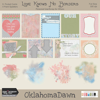 Pixel Scrapper March 2018 Blog Train - Love Knows No Borders - free mini kit