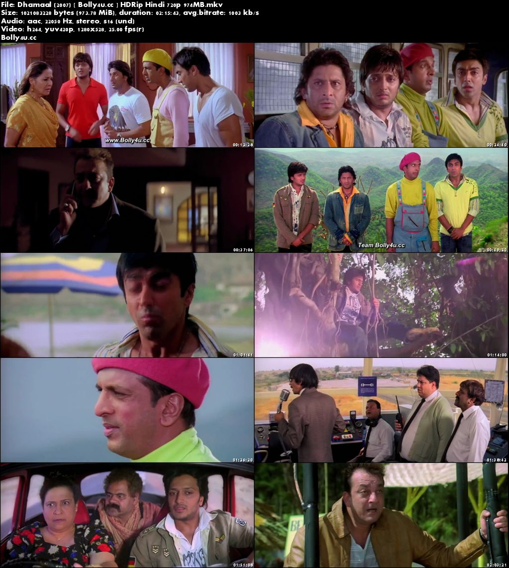 Dhamaal 2007 HDRip 950MB Full Hindi Movie Download 720p
