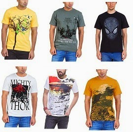 Men's T-Shirts- Flat 50% Off or more for Rs.182 Only@ Amazon