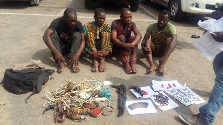 Photo: Police parade native doctor who smuggle guns, makes charms for gang of armed robbers specialised in snatching cars in Nigeria