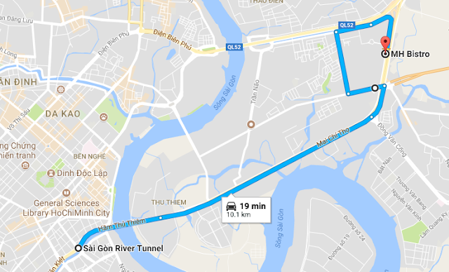 Option 2: After crossing the Saigon river through the Thu Thiem Tunnel on Vo Van Kiet Street, you will arrive Mai Chi Tho Street, just go ahead until arrive the intersection with Luong Dinh Cua Street on your left hand side, turn left around 500 meter, then turn right to Nguyen Hoang Street, go ahead until you arrive Song Hanh Street behind the Hanoi Highway, then turn right, just keep go ahead until you see the Pagoda: Phap Vien Minh Dang Quang on the right hand side, then just turn right along the Pagoda, then you can see Lexington Residence, MH Bistro is on the left and front of the building on Mai Chi Tho Street