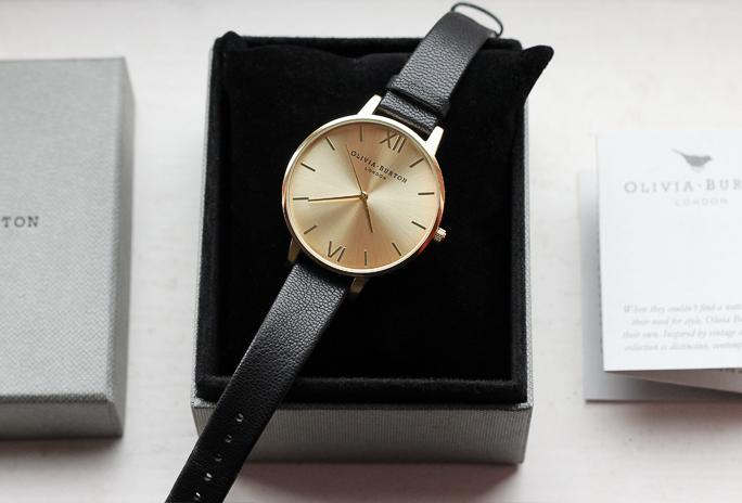 Olivia Burton Big Dial Black & Gold Watch