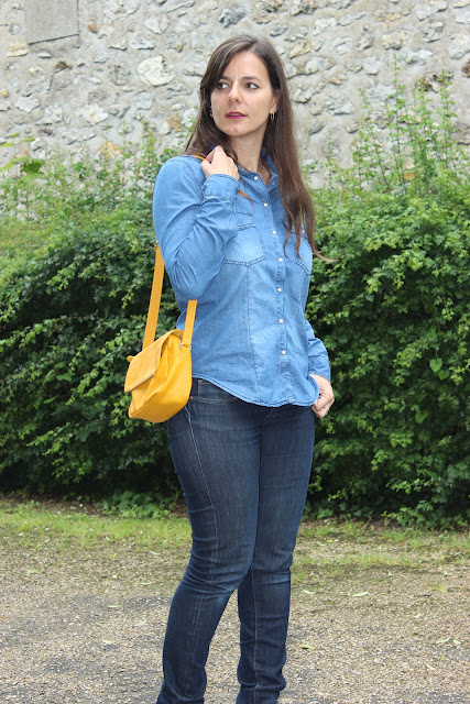 look 100% denim, chemise en jean Pimkie, sac jaune