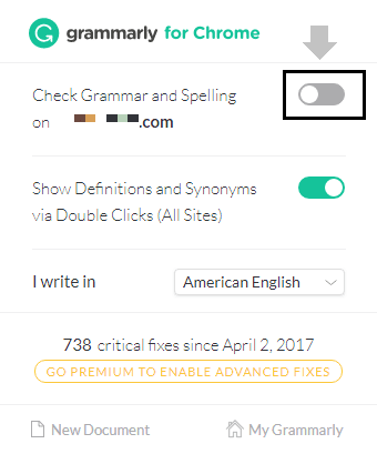 disable grammar and spelling check