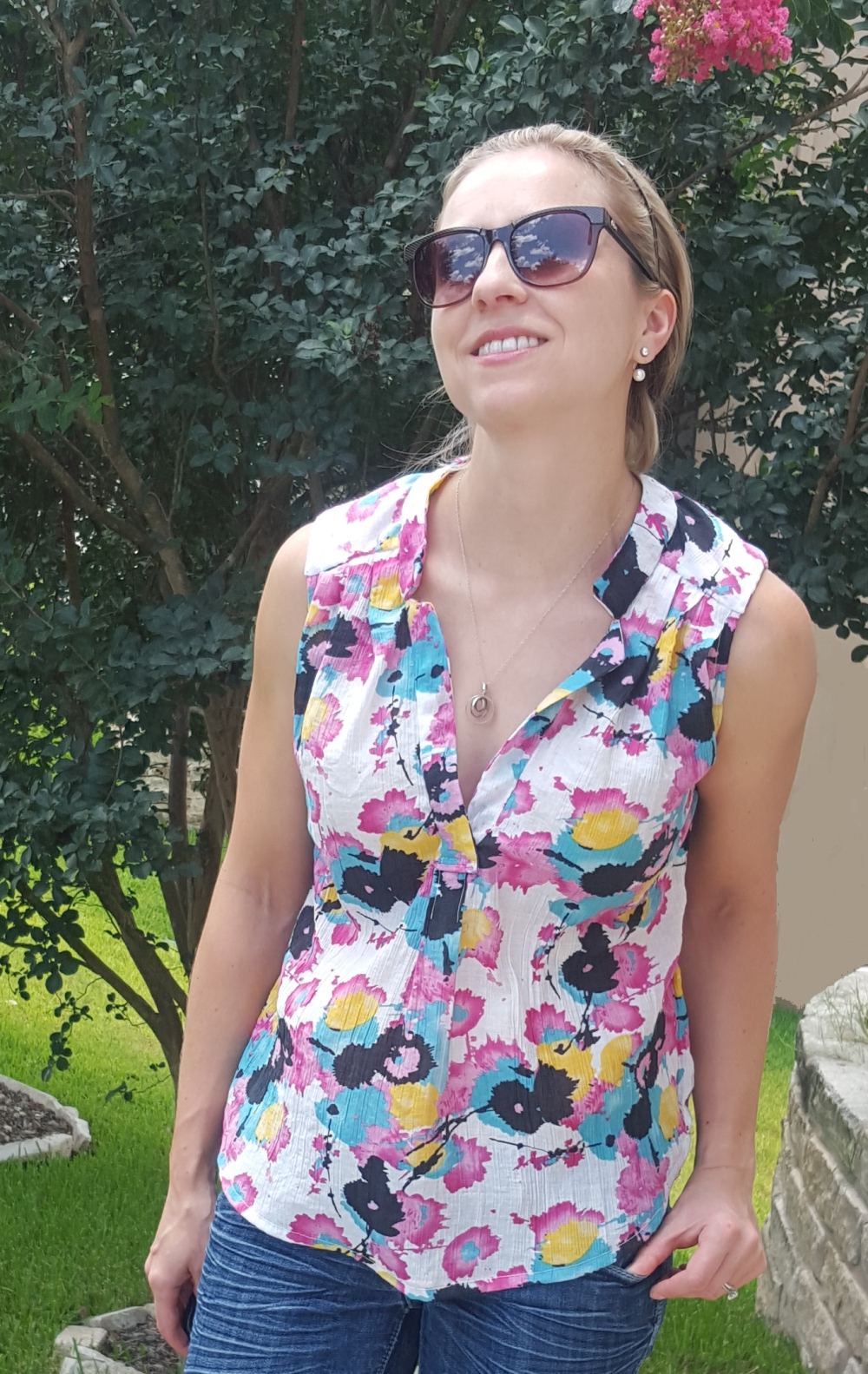 Summer sewing sleeveless voile top bright abstract print