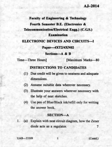 AJ-2014 Electronic Devices and Circuits-I, 2012, Sant