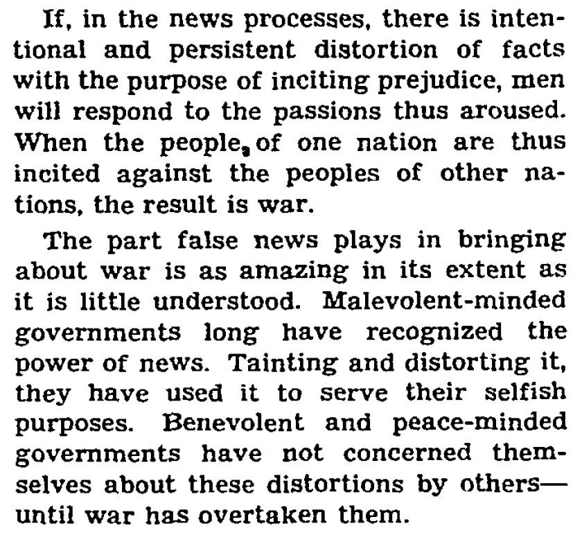1945. The Power of False News