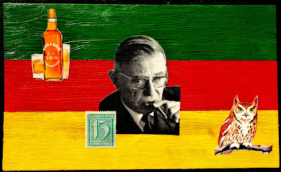 postage stamp flag Sartre collage