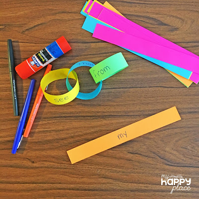 sight words paper chain - great for fine motor practice!