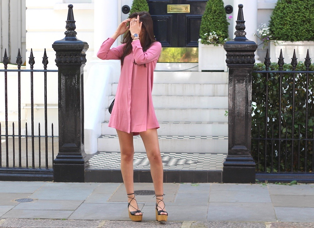 asos pink shirt dress