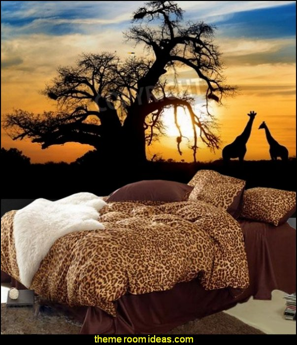 African sunset with Baobab and Giraffe Mural animal print bedding