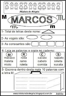 Brincando com os nomes-Marcos