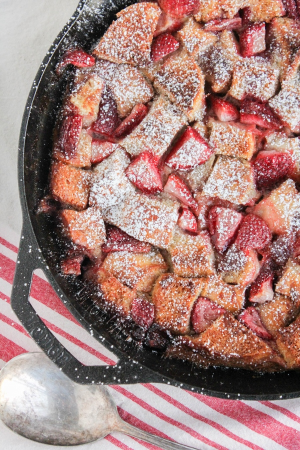 This beautiful and decadent Strawberry Bread Pudding is a delicious twist on classic bread pudding and is perfect for breakfast or brunch!