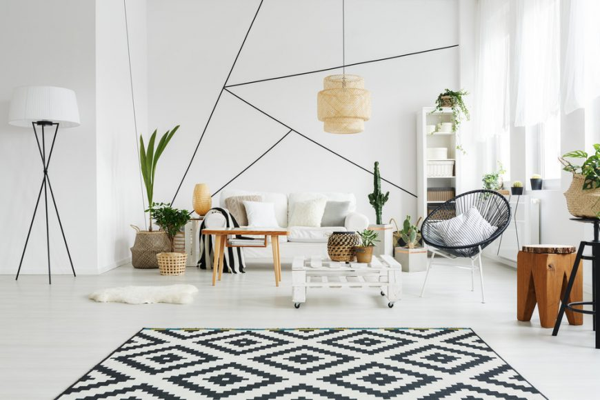 Scandinavian living room with plants