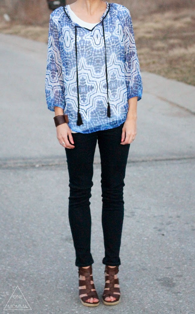 Boho blouse, dark denim, wedge sandals