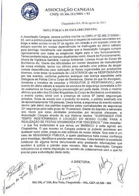 Nota da Associação Cangaia (Chapadinha), sobre o ocorrido.