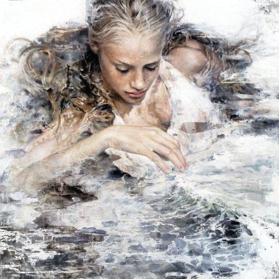 June Stratton arte pinturas tradicionais prateadas mulheres oníricas surreais sonhos emoção hiper-realista