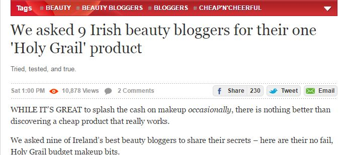 Ireland's best beauty bloggers Holy Grail products