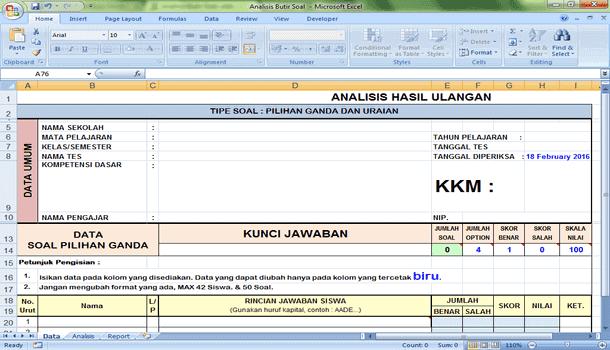 Aplikasi Analisis Butir Soal Format Microsoft Excel