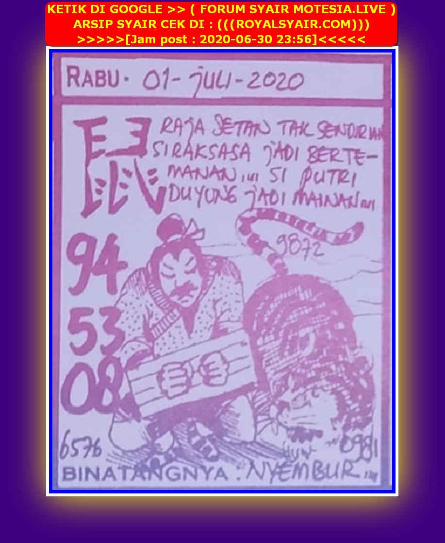 Kode syair Singapore Rabu 1 Juli 2020 54