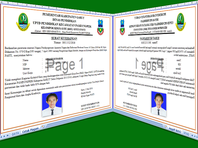 Download Aplikasi Cetak Piagam/Sertifikat Kelompok Kerja Guru ( KKG ) Format Excel