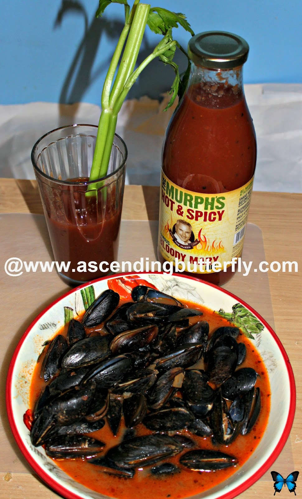 Murph's Famous Hot & Spicy Bloody Mary Mix, Mussels, Seafood, Bloody Mary Cocktail