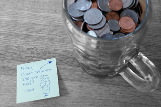 Coin Jar With Share Note From Dad