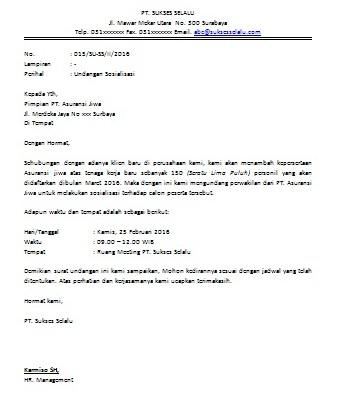 Contoh Surat Dinas Undangan Perusahaan Suratmenyurat Net