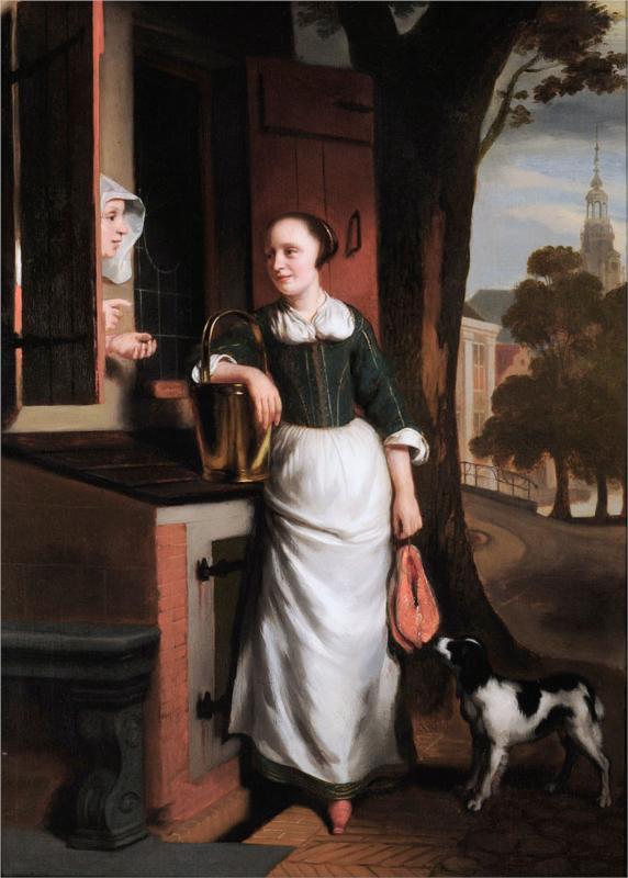Nicolaes Maes - Две болтающие домохозяйки