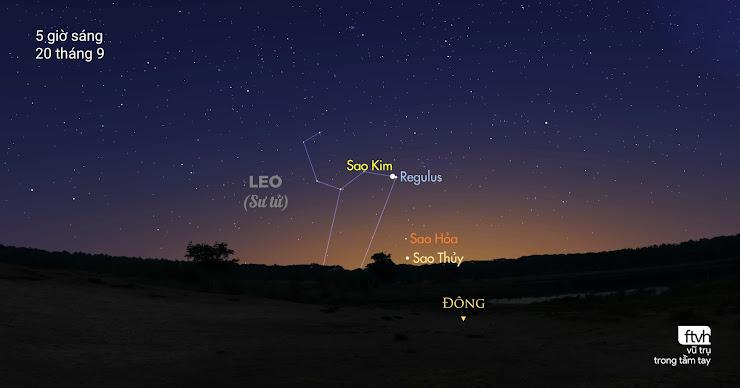 Sao Kim giao hội rất gần cùng sao Regulus của chòm sao Leo.