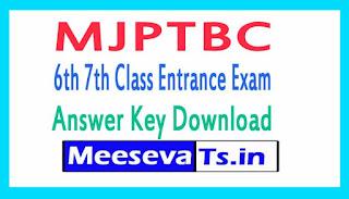 MJPTBC 6th 7th Class Entrance Exam Answer Key 2018