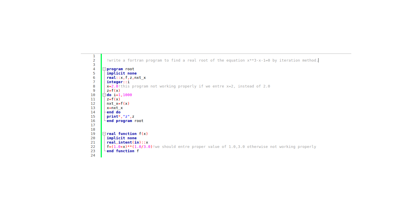 Bapon Kar: Fortran program::Finding root of a cubic equation