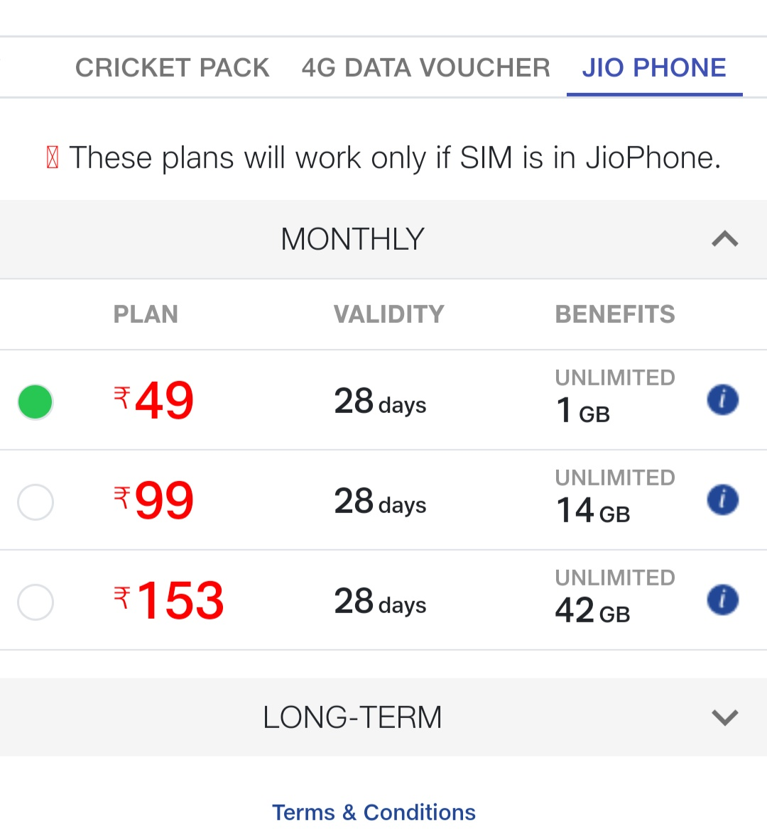 Jio Prepaid Plans 2019 (April)
