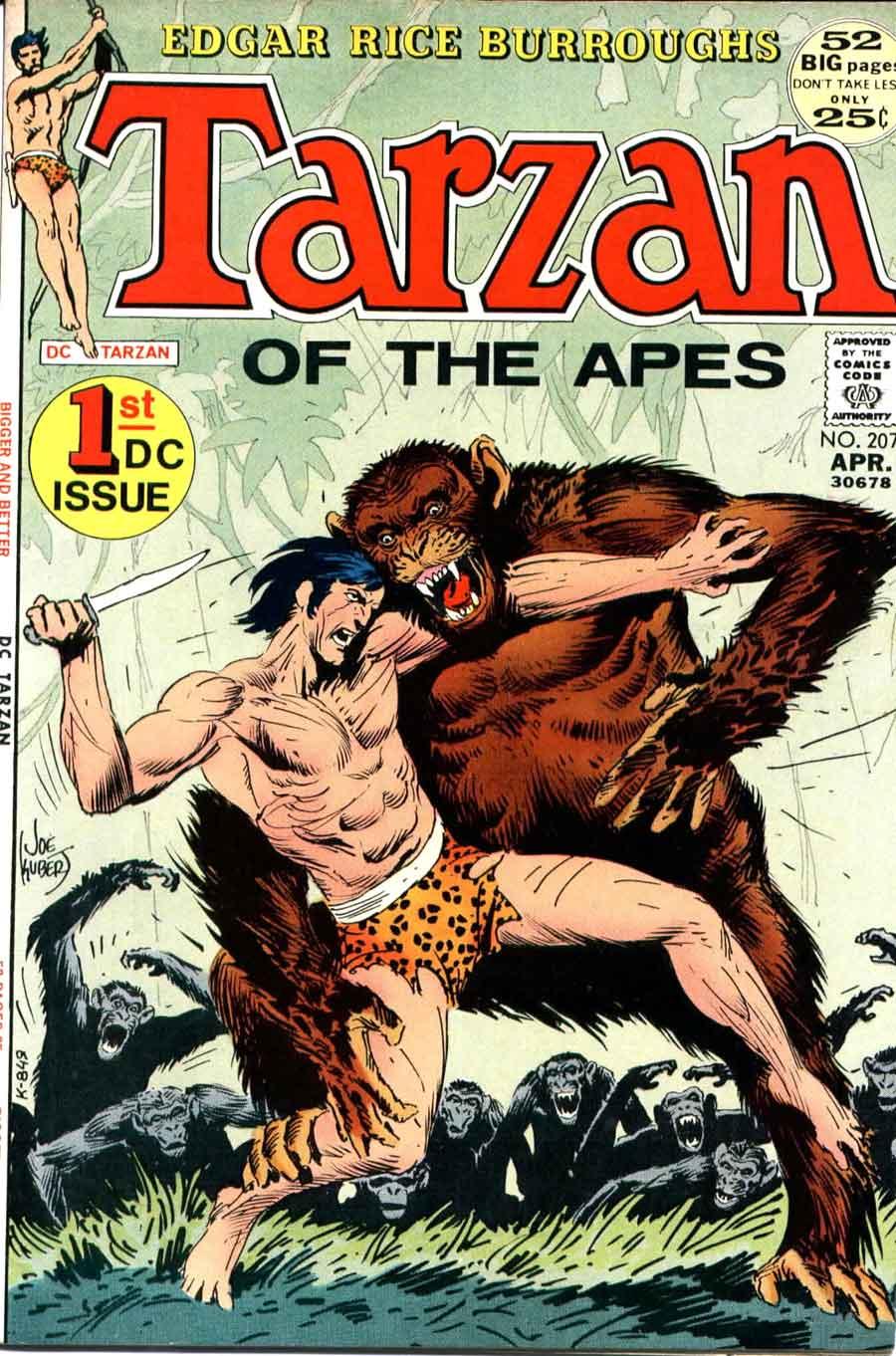 Tarzan v1 #207 dc comic book cover art by Joe Kubert