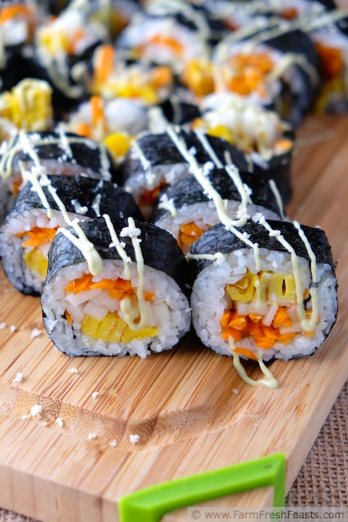 Recipe for a Japanese-style rolled omelet with farm share kohlrabi and carrots that makes a vegetarian sushi roll.