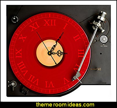 record player wall decoration  Music bedroom decorating ideas - rock star bedrooms - music theme bedrooms - music theme decor - music themed decorations - bedding with musical notes