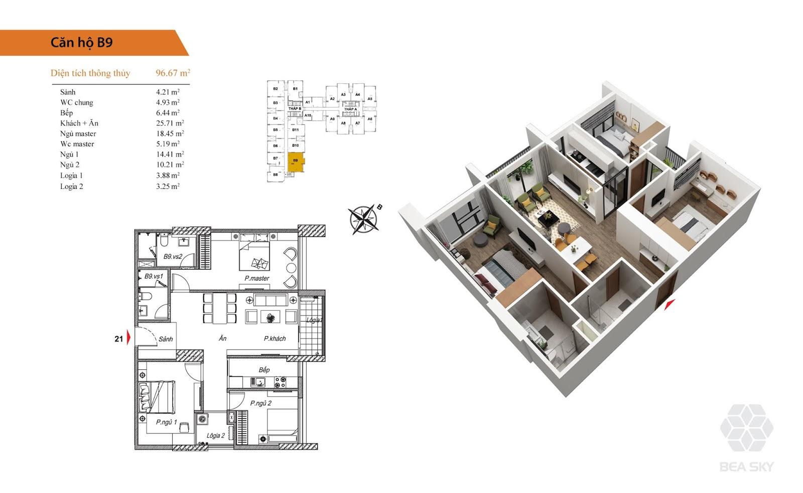 Thiết kế căn B9 chung cư Bea sky nguyễn xiển