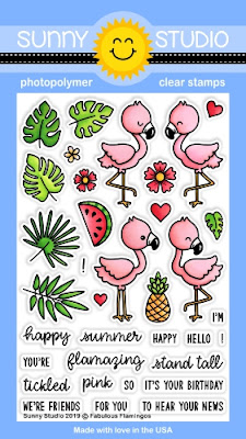 Sunny Studio Stamps: Fabulous Flamingos 4x6 Photopolymer Clear Stamps