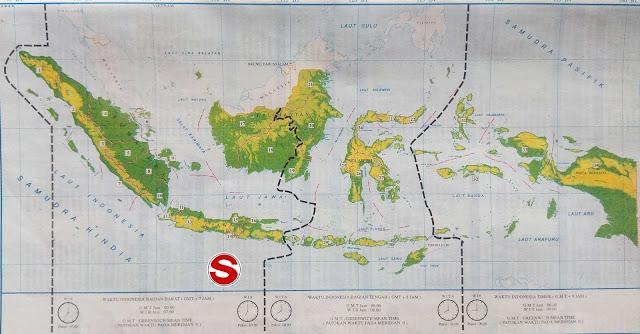 Gambar Peta pembagian waktu Indonesia