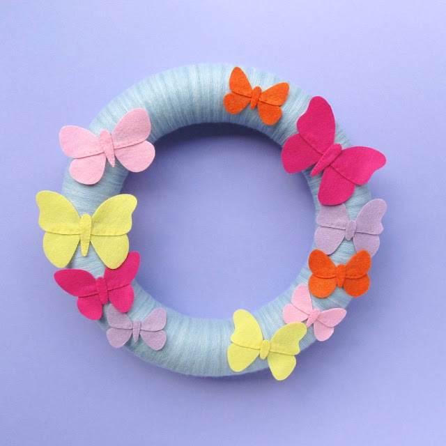 Felt Butterflies Wreath Tutorial