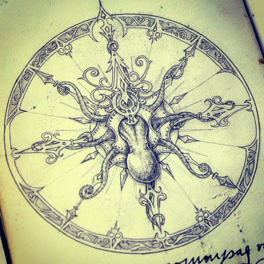 Octopus and Compass Tattoo Designs