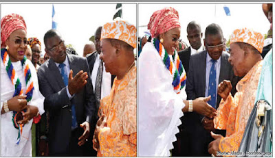 Aisha Buhari trying to shake Alaafin's hand, see his reaction (photos)